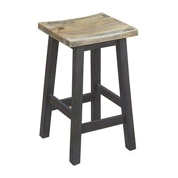 Osaka Solid Mango Wood Timber Kitchen Stool with White Wash Top - Black