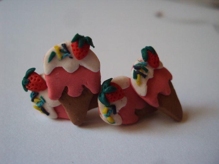 strawberry ice cream earrings #fimo