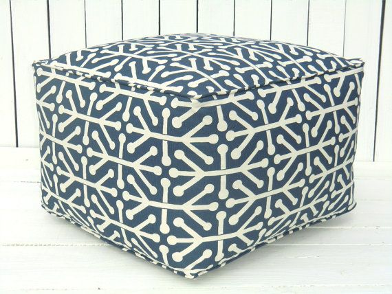 Blue square pouf, large ottoman, bean bag chair, childrens play table, square ottoman, blue floor cushion