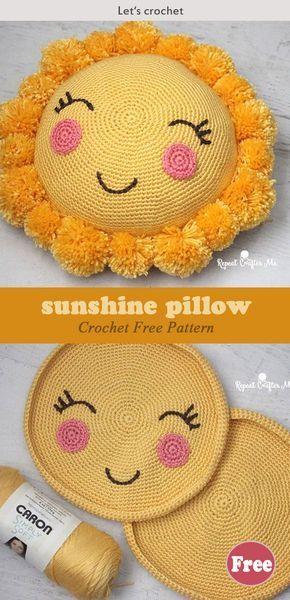 Häkeln Sie Bommel Sonnenschein Kissen kostenlose Muster #freecrochetpatt … #diygesche …   – Diy geschenke