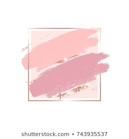 357a4f1d0960 Brush strokes in gentle pink tones and rose gold square frame. Abstract  vector background.