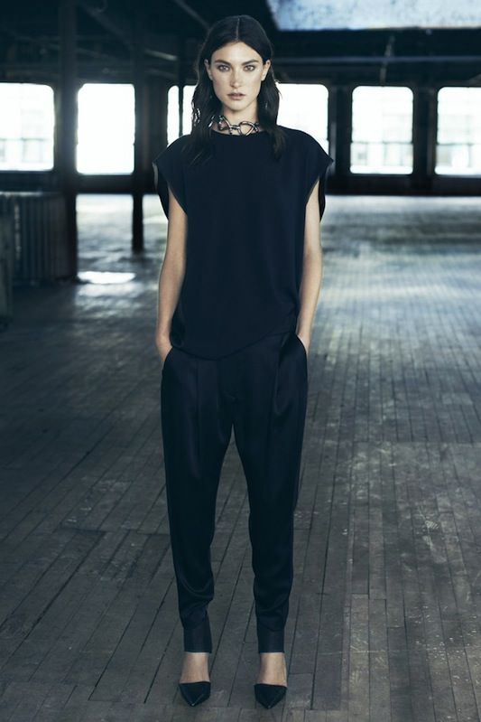 Spring 2014 ready-to-wear: allsaints black tapered trousers and black blouse
