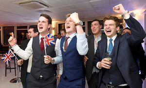 Leave supporters cheer results at a Leave.eu party after polling stations closed in the EU referendum on 23 June, 2016.