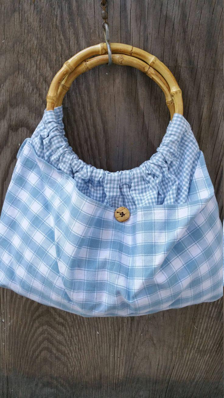 Blue Tea Towel Hobo Purse / Bamboo Handled Bag / Light Blue White Plaid Diaper Bag / Bohemian Bag / Mom Sister Co-Worker Boho Birthday Gift by CaliforniaCrownJewel on Etsy