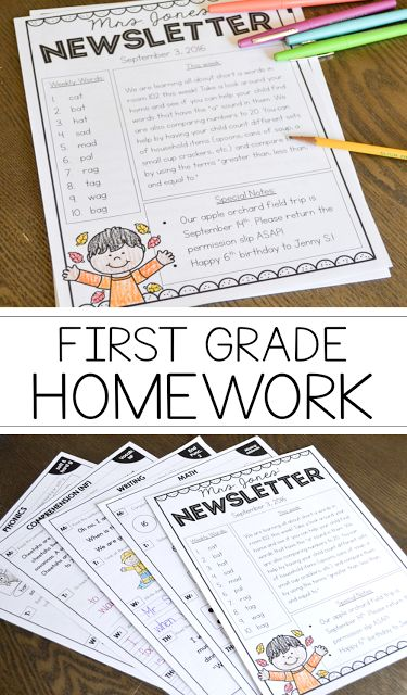 First Grade Homework for the entire year! Check out how this teacher sends home quick, simple, and customizable homework packets each week!