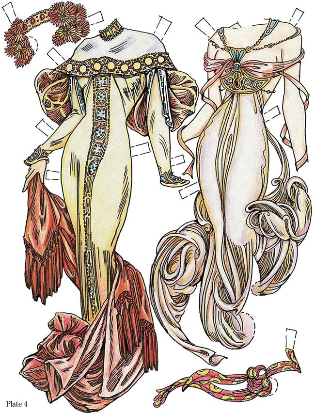 Paper Dolls in the Style of Mucha: Dover Publications Samples