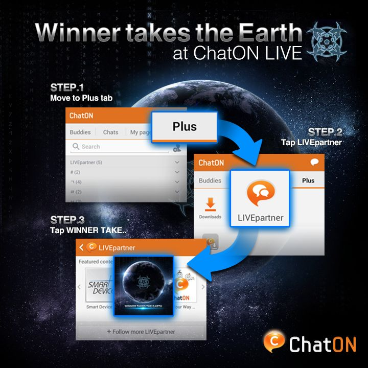 [ChatON LIVEpartner] Winner takes the Earth / Humans vs Aliens. Once in a lifetime football match is coming to you. Who will be the GALAXY 11 playing against aliens? The first player will be announced on 11th Nov. 2013 Stay tuned with ChatON LIVE.'Winner takes the Earth'  / 인류 VS 에일리언 당신의 인생에 한번 있을 축구 경기가 찾아옵니다. 에일리언 축구 팀에 맞설 GALAXY 11 팀원은 누가 될까요? 2013년 11월 11일, 첫번째 선수가 공개됩니다.ChatON LIVEpartner 'Winner takes the Earth'를 추가하시고  실시간으로 Winner takes the Earth의 소식을 받아보세요.