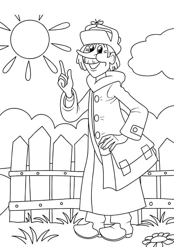 картинки из простоквашино летом ходит в пальто и шапке