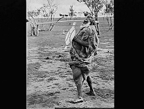 Aboriginal Man Wearing Possum Skin Cloak, Swan Hill, circa 1915 by Lilian Louisa Pitt.