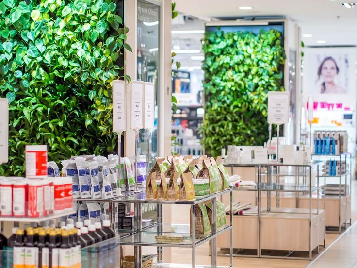 The smart green walls enhance the store's natural feel. Naava at SOKOS.