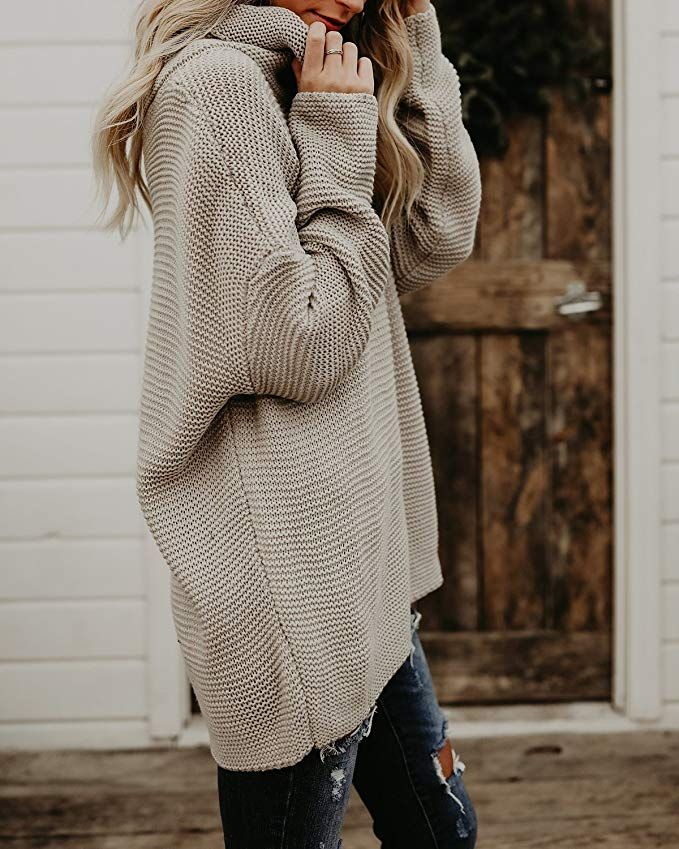 3696db8e1070 Pxmoda Women s Casual Long Sleeve Turtleneck Knit Sweater Chunky Oversized  Pullover Jumper Under  30