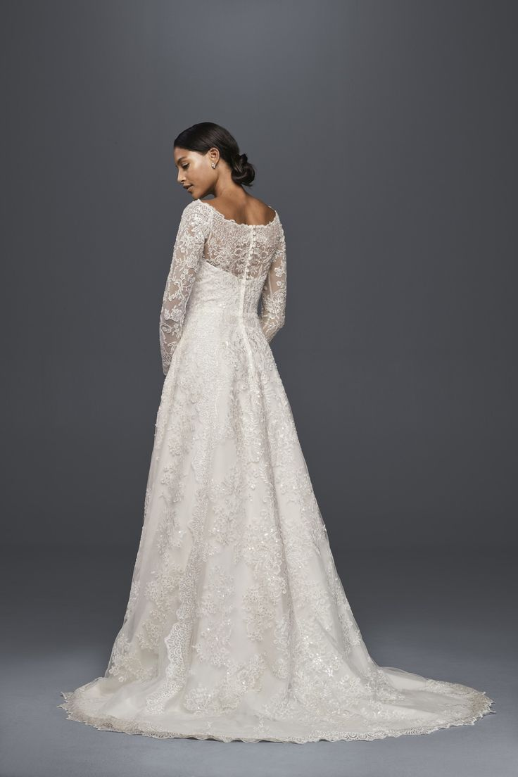 Beautiful all over lace long sleeve a line wedding dress for Wedding dress designer oleg cassini