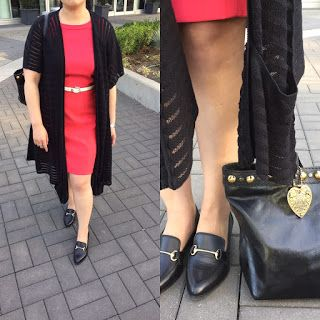 #ootd - work outfit - coral sheath dress, black long cardigan, loafers, ivory belt, black tote bag
