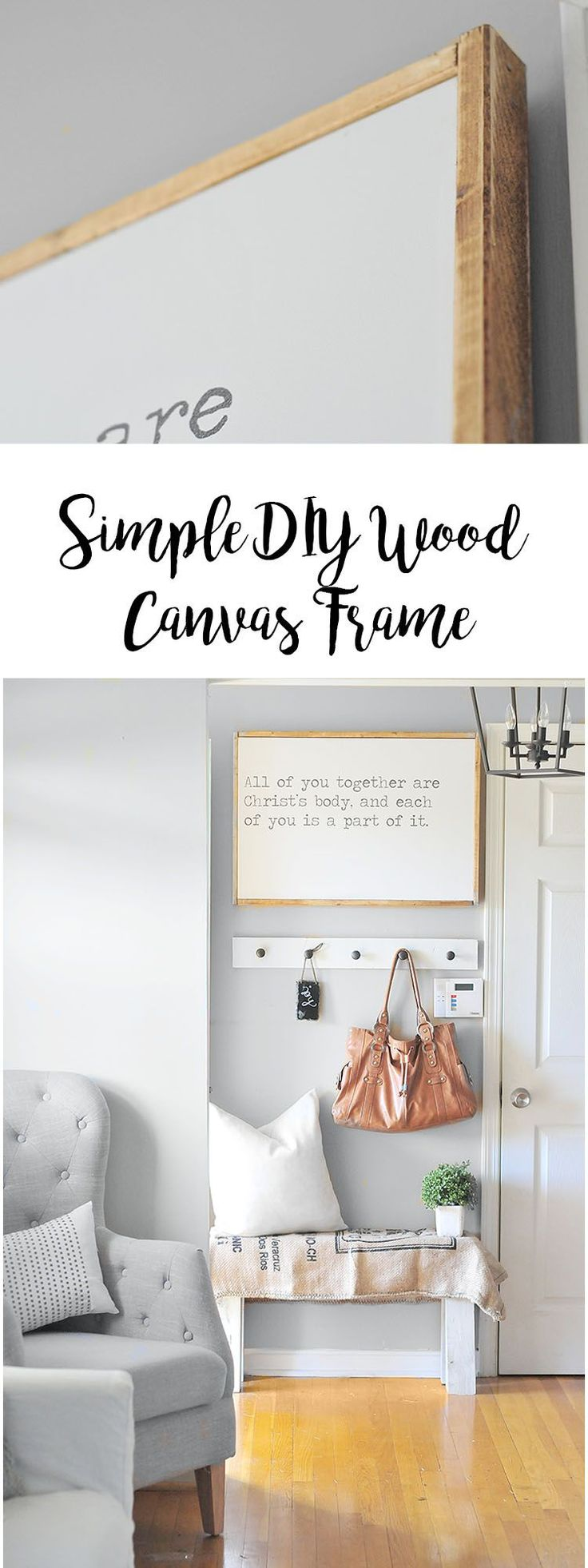 Simple and rustic are in, and this wood frame is both simple and rustic. No power tools required, and you get a gorgeous piece of wall art! #wallart #canvas #frame #simple #rustic #farmhouse #decor #homedecor #diy #howto #tutorial