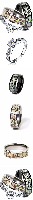 Mens & Womens Camo Engagement Wedding Rings Set Silver & Titanium (size Men  12;