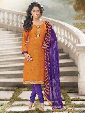 Orange Cotton Suit with Lace Work
