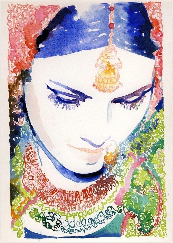 Indian Girl Watercolor Painting by Cate Parr #bohemian #boho http://www.etsy.com/shop/silverridgestudio?ref=pr_shop_more