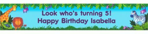 Jungle Animals Custom Birthday Banner 6ft -