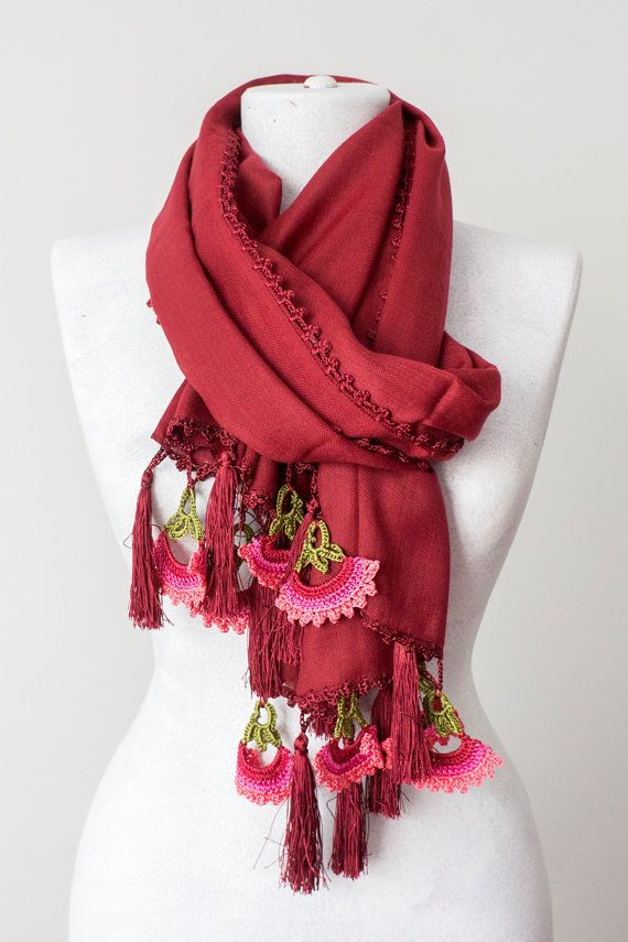 Burgundy Tassel Scarf Crochet Scarf Winter Scarf Thick by Oxoo