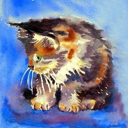 Sale 20  Cat Art Watercolor Painting women men teen by LaBerge, $28.00