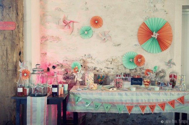 Candy bar mariage champêtre romantique