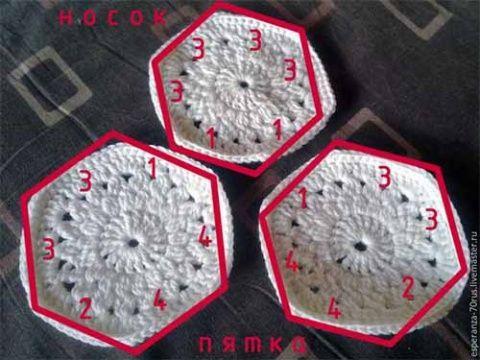 Тапочки или сапожки из шестиугольных мотивов
