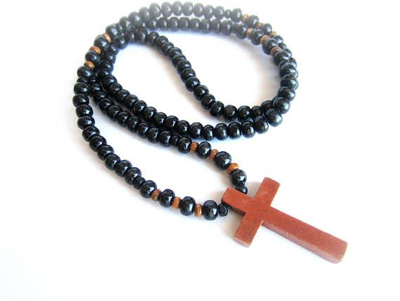 Mens cross wood necklace black wood beaded necklace mens