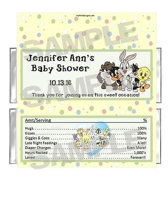 Bugs Daffy Taz BABY LOONEY TUNES BABY SHOWER Candy Bar Wrappers FREE FOILS