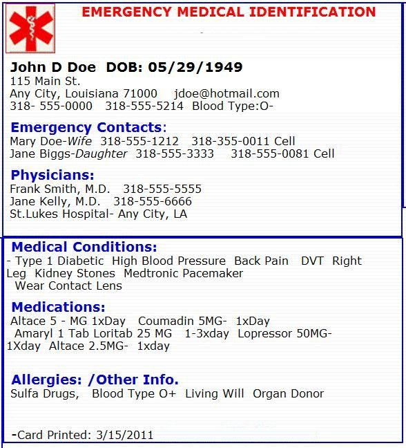Emergency Medical Card Template Emergency Medical Card Emergency Preperation Emergency Medical Medical Emergency Card Emergency