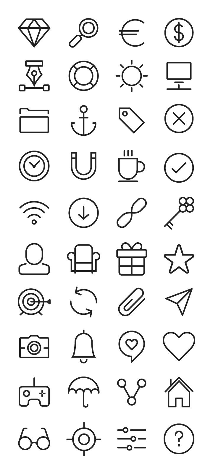Clean Line Icon Set | Pictogram and Icon Design