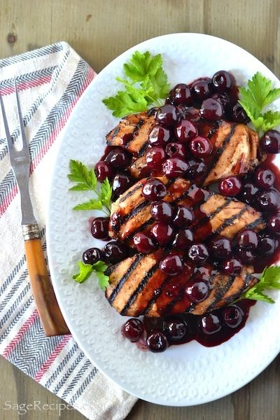 Grilled Chicken with Fresh Cherry Sauce!!! No Reason You Couldn't Bake the Chicken in a 450 Oven if Grilling isn't an Option. ;)