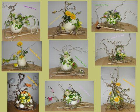 BONNE FETE DE PAQUES avec 9 oeufs d'autruche fleuris !!!!!!!