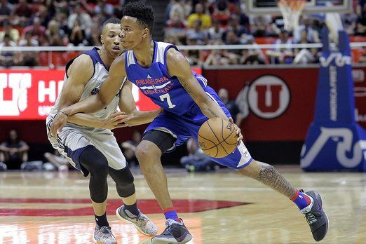NBA Summer League Basketball 2017 - Philadelphia 76ers guard Markelle Fultz (7) drives around Utah Jazz guard Dante Exum