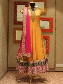 Light Orange Net Anarkali Suit With Handwork