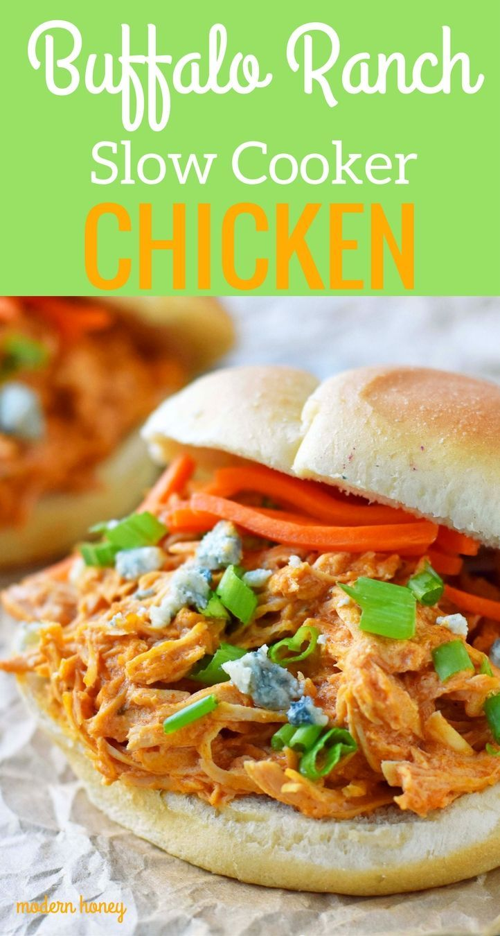 Buffalo Ranch Slow Cooker Chicken made with chicken breast, ranch dressing powder, buffalo wing sauce and cream cheese. This buffalo ranch chicken is made with only 4 ingredients. Can be made into buffalo chicken sliders. Perfect for football tailgate parties or potlucks. www.modernhoney.com #buffalochickensliders