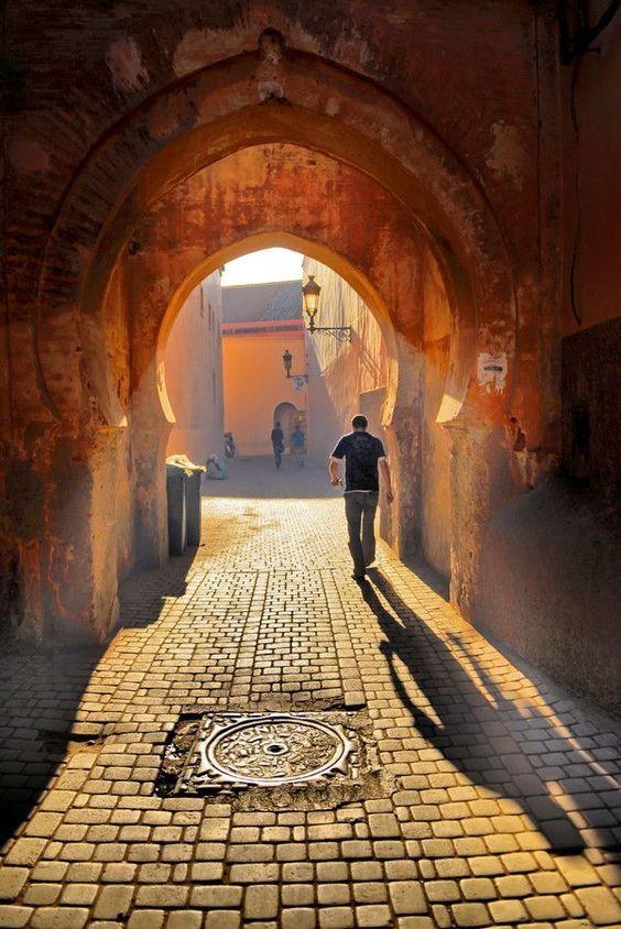 Marrakech, Morocco beautiful narrow alleys.: