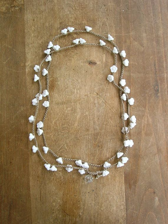 Romantic Crochet Wrap Bracelet Necklace Babys Breath Bohemian Wedding Jewelry Flowers Bridal Boho Country Silver Charm White