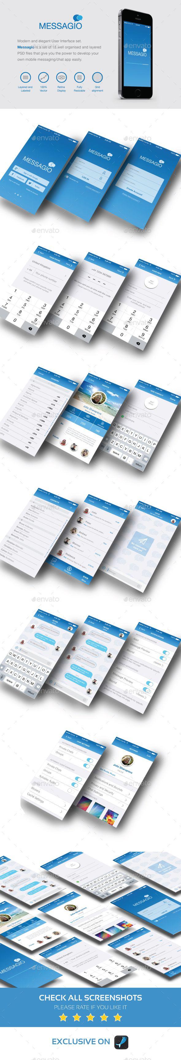 Messagio - Mobile User Interface Set Template PSD #design #ui Download: http://graphicriver.net/item/messagio-mobile-user-interface-set/13336990?ref=ksioks