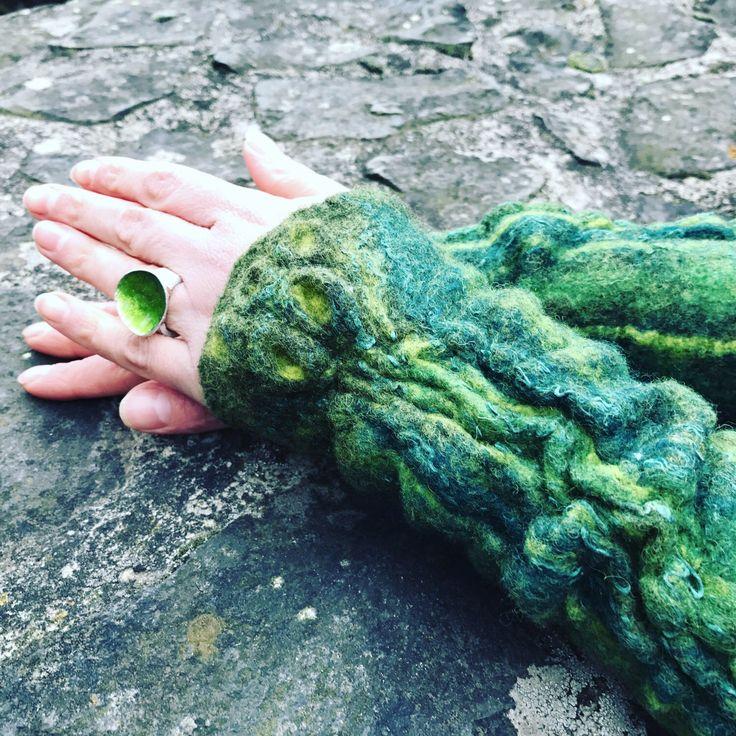 Long Felted Arm warmers- fingerless gloves- arm sleeves- wrist warmers from merino wool- handmade accesories by LITTAUdesign on Etsy https://www.etsy.com/listing/518809283/long-felted-arm-warmers-fingerless