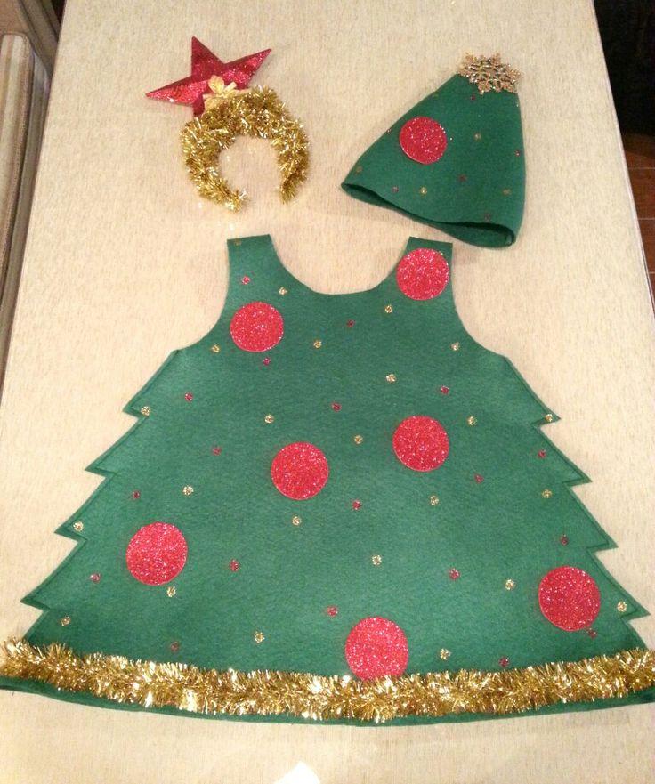 Disfraz árbol de Navidad con fieltro. A elegir diadema o gorro By ChG
