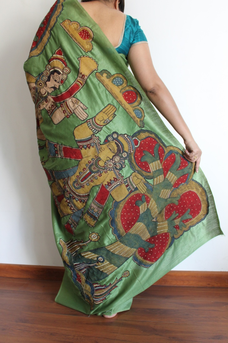 Kalamkari handpainted motif appliqued on the saree...the story of a prince and his beloved.