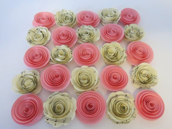 The 22 best set of 25 small paper flowers images on pinterest s pink and sheet music paper roses 24 pieces 15 flower floral table topper decor baby shower wedding event decorations party supplies mightylinksfo