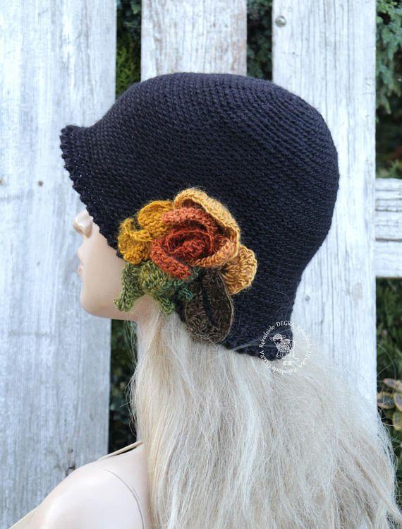 Winter black hat Retro flower cloche Crochet black flower