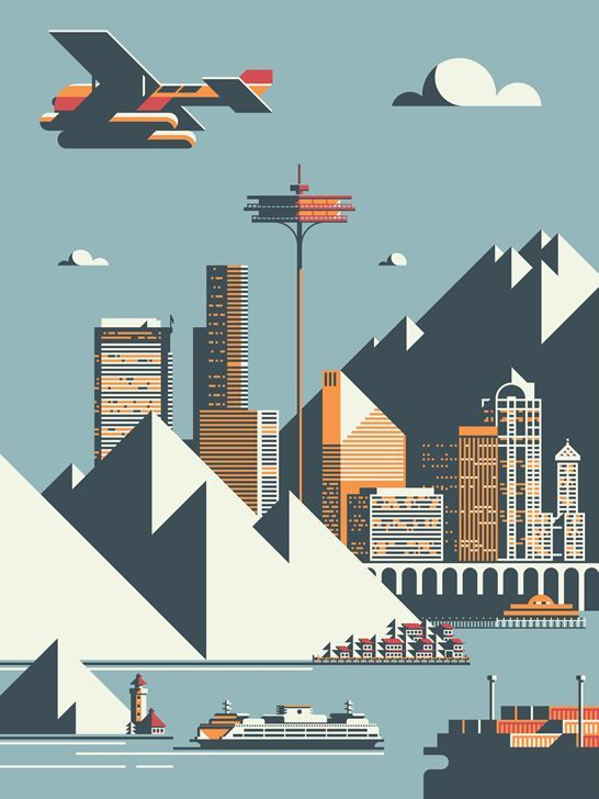 #Seattle skyline by Rick Murphy / Flat design / Illustration / #poster