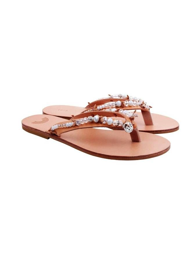 Bridal Hand Embellished Leather Sandals #bejeweled #sandals