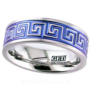 Geti Flat Zirconium Anodised Greek Key Ring