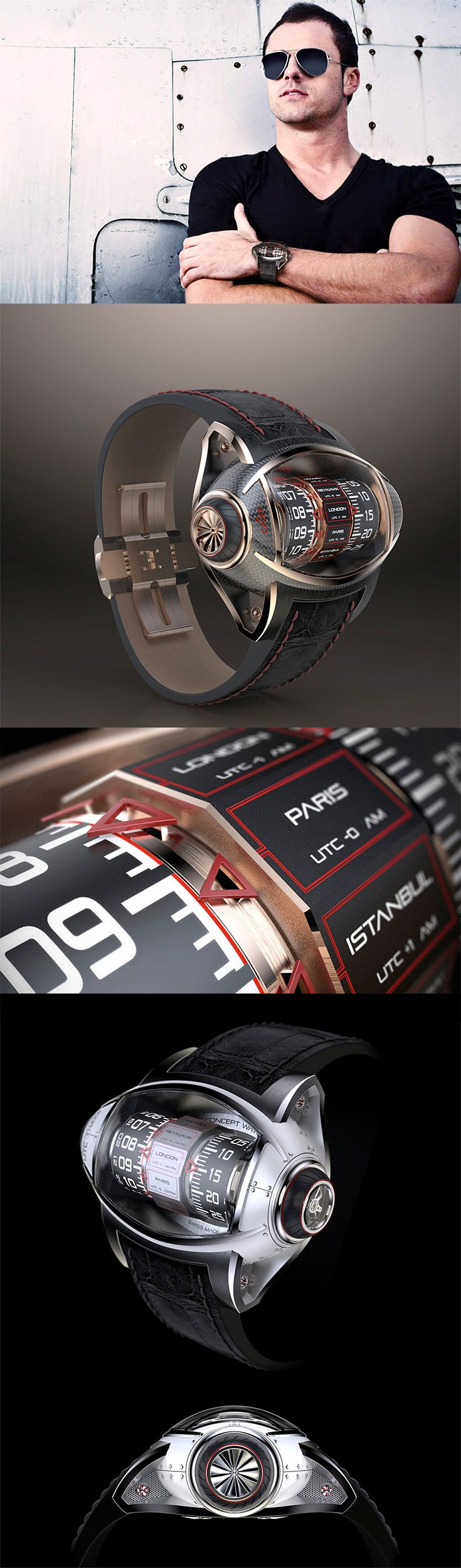 Aeronautics has informed watch design since the 1930s and this concept by Germain Baillot is no exception despite its modern time-telling functionality. Unlike flat-faced pilot watches, this alternative timepiece features a vertical tourbillon. Read More: http://www.yankodesign.com/2016/11/17/soar-in-style/