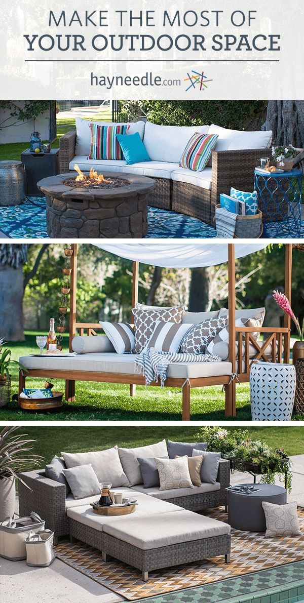 Bring all the luxury and comfort of indoors to your backyard or outdoor space with beautiful patio furniture from hayneedle.com. From fire pit patio sets to outdoor daybeds, patio dining chairs to hammocks—you'll find everything you need to turn your outdoor space into a relaxing oasis. Shop them all at Hayneedle today.