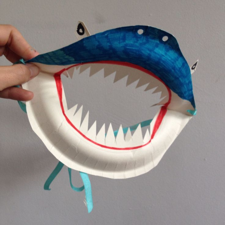 Paper plate shark mask                                                                                                                                                      More