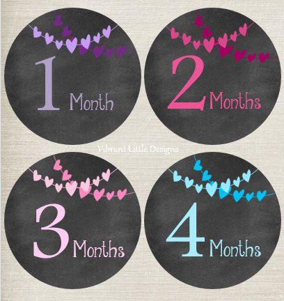 Bebé niña mensual pegatinas pegatinas de por VibrantLittleDesigns
